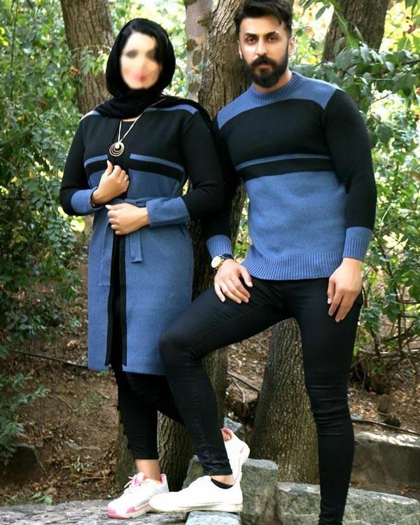 ست بافت مردانه زنانه آبی و مشکی