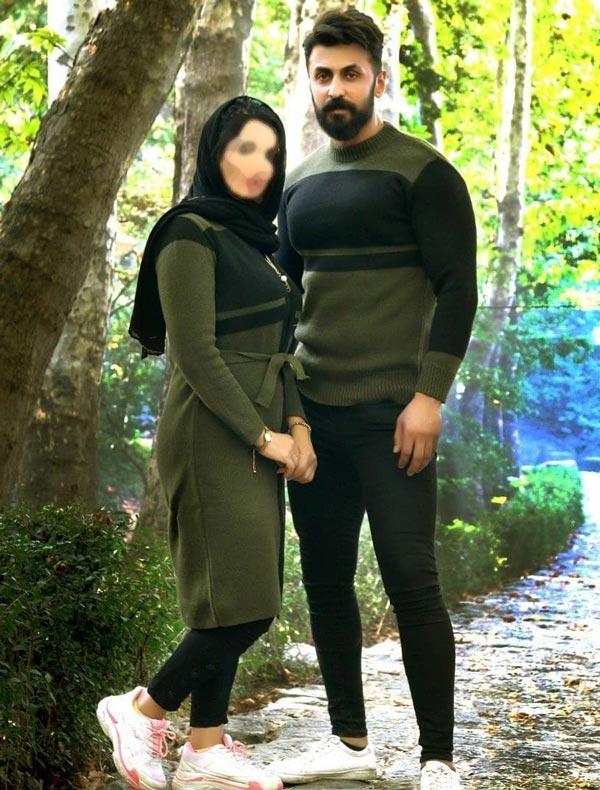 ست بافت مردانه زنانه مشکی و سبز زیتونی