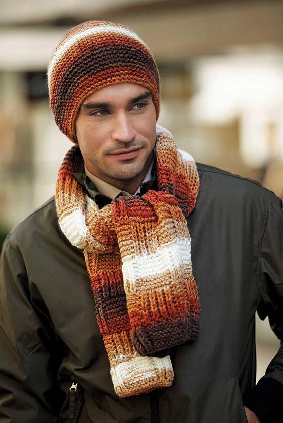 شال و کلاه مردانه بافتنی با کاموا اسپرت