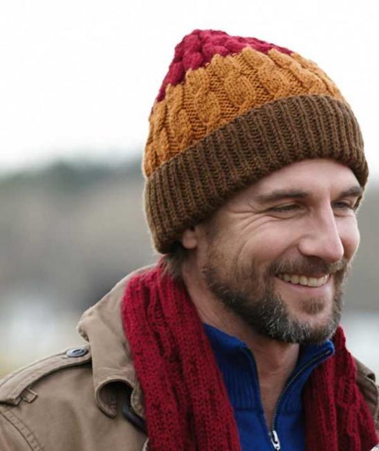 کلاه و شال مردانه سه رنگ
