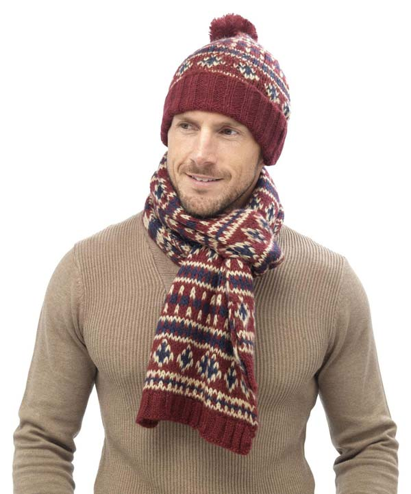 کلاه شال میل بافی مردانه دستباف نقش دار