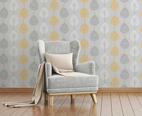 کاغذ دیواری زرد خاکستری سفید رنگ سال 2021