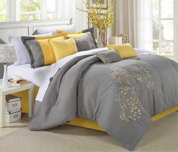 اتاق خواب زرد خاکستری رنگ سال 2021