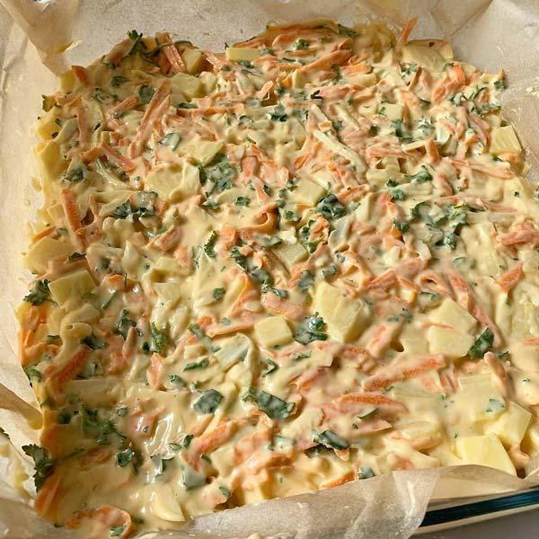 کیک سیب زمینی و سبزیجات