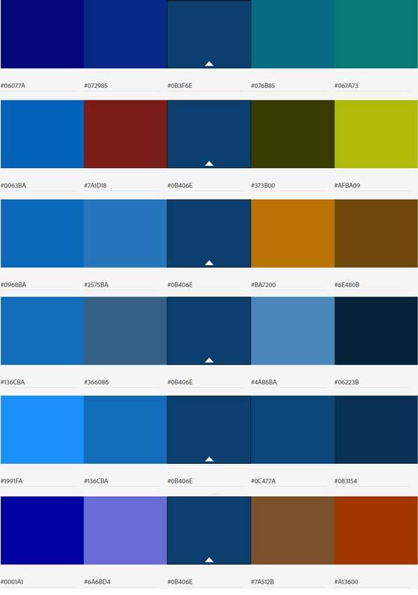 پالت رنگ های ست آبی کلاسیک