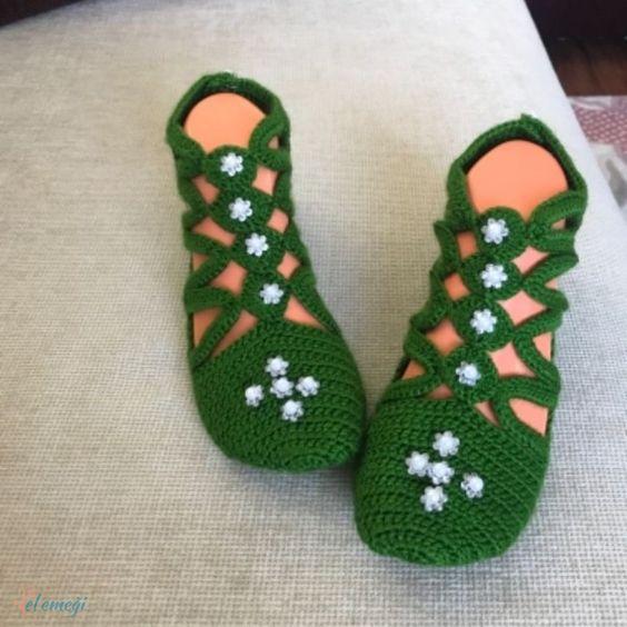 کفش روفرشی بافتنی سبز مروارید بافی