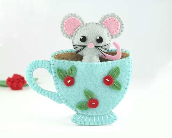مدل موش نمدی فنجانی