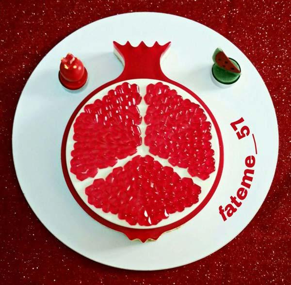 دسر بی نظیر مجلسی چیز کیک انار