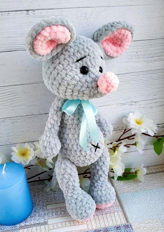 عروسک موش کاموا مخملی