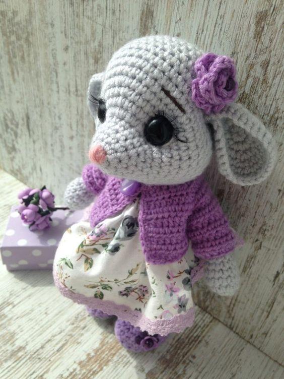 عروسک موش مظلوم قلاب بافی
