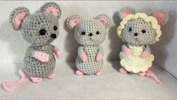 عروسک بافتنی خانواده موش ها