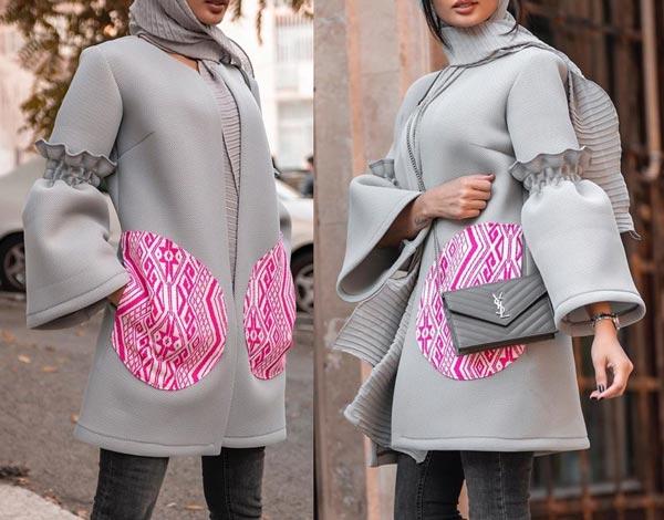 مدل مانتو زمستانی طوسی کوتاه دخترانه