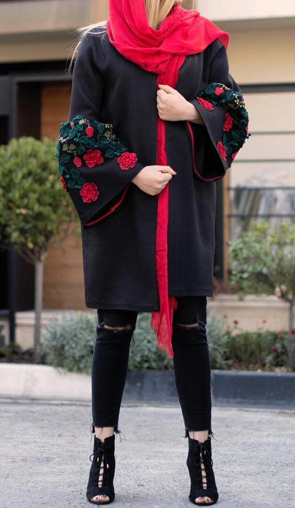 مدل مانتو زمستانی مجلسی قرمز مشکی