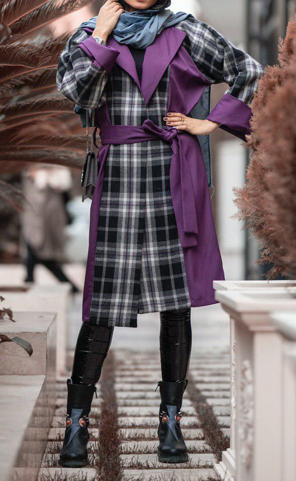 مدل مانتو زمستانی چهارخانه پشم