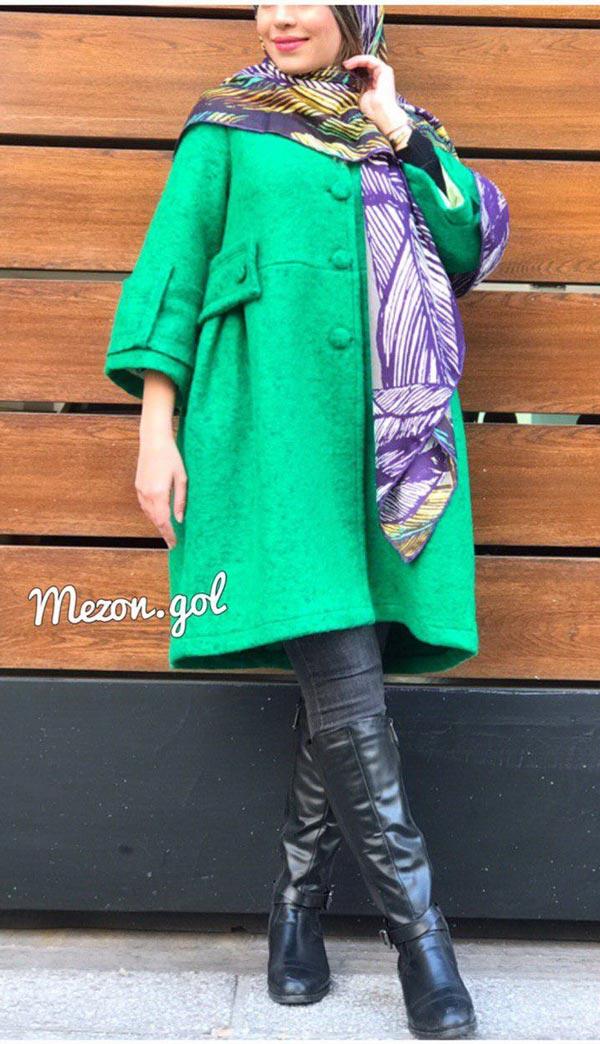 مدل مانتو زمستانی کوتاه بارداری سبز