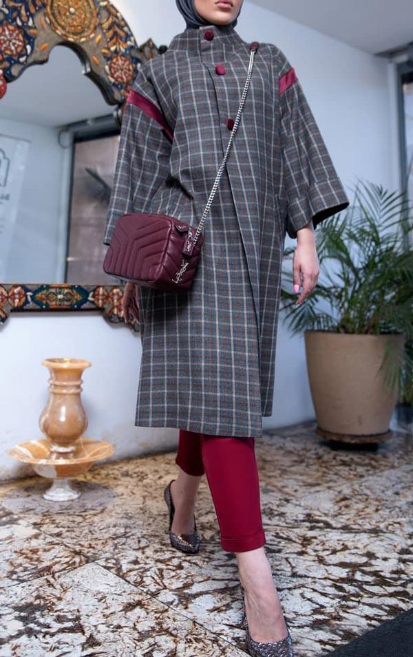 مدل مانتو زمستانی چهارخانه طوسی