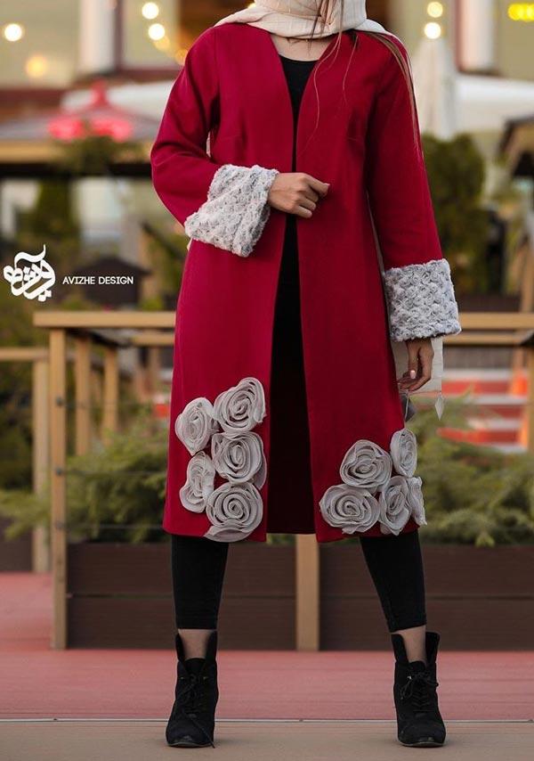مدل مانتو زمستانی مجلسی قرمز طوسی