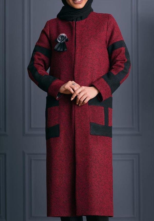 مدل مانتو زمستانی بلند قرمز فوتر