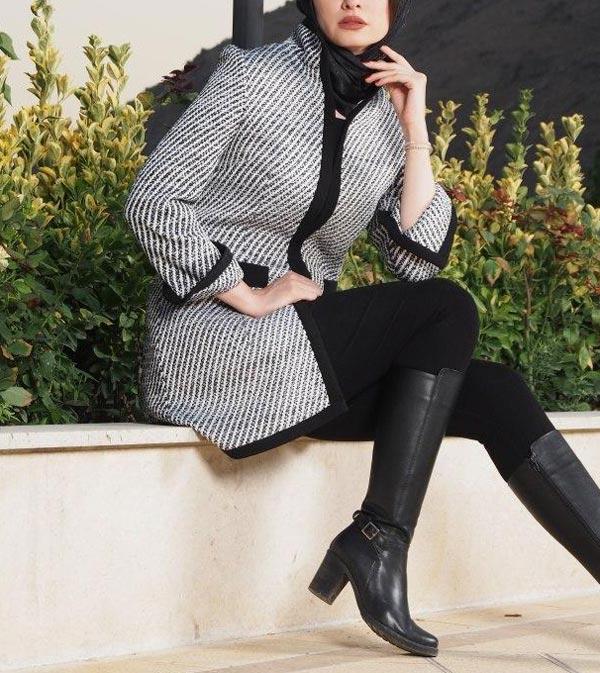 مدل مانتو پشم زمستانی طوسی مشکی