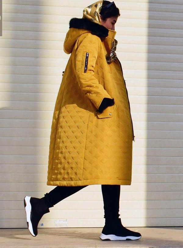 پالتو خردلی رنگ دانشجویی دخترانه