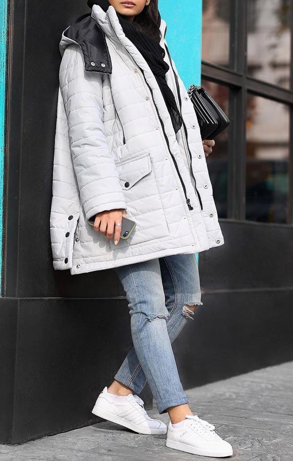 مدل پالتو سفید دخترانه دانشجویی