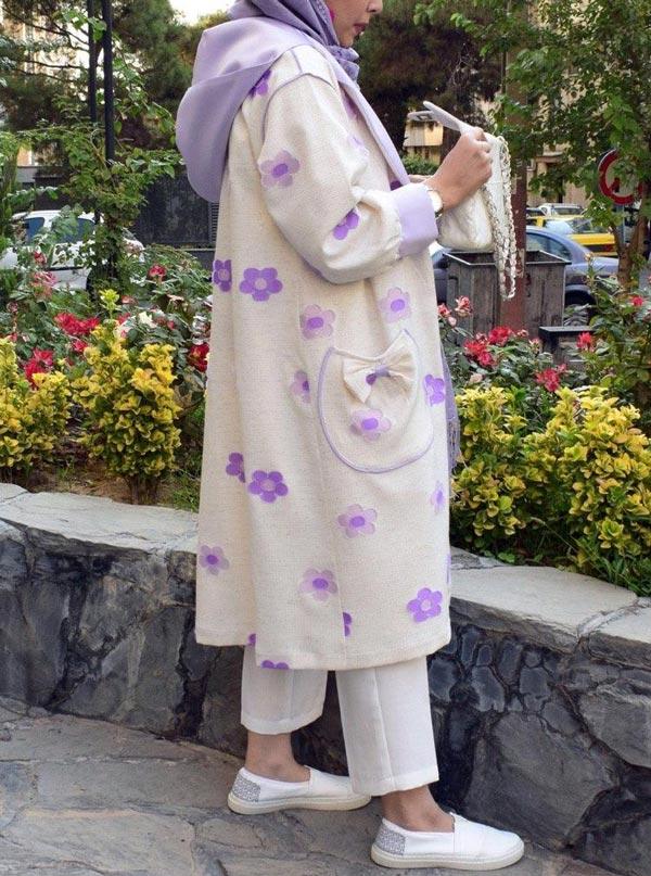 مدل مانتو زمستانی گلدار دخترانه