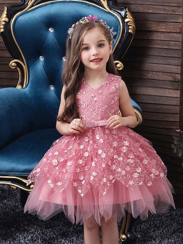 لباس مجلسی پرنسسی حریر دخترانه صورتی
