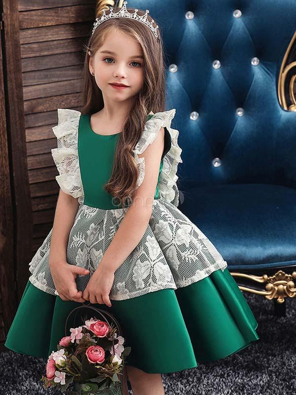 پیراهن مجلسی دخترانه سبز
