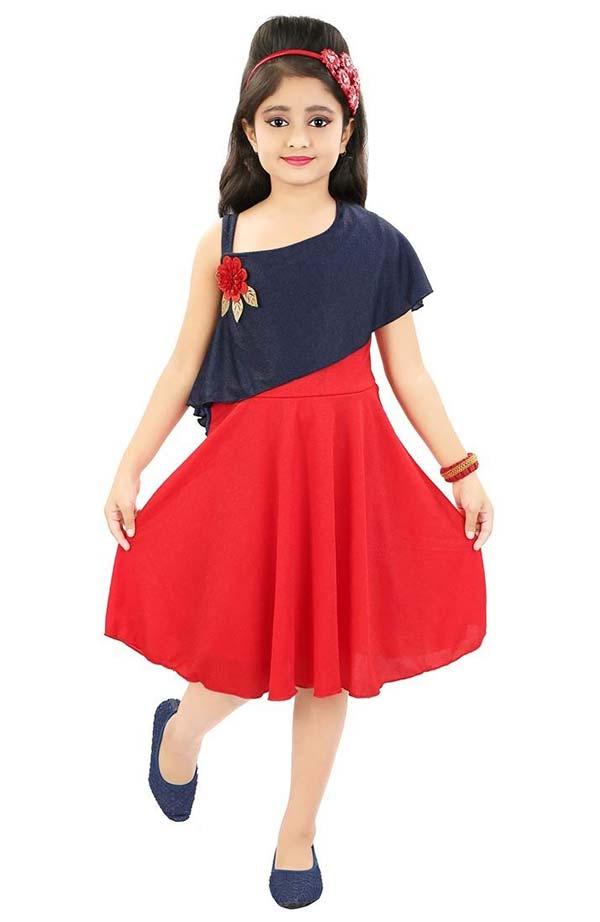 پیراهن عید دخترانه مشکی و قرمز