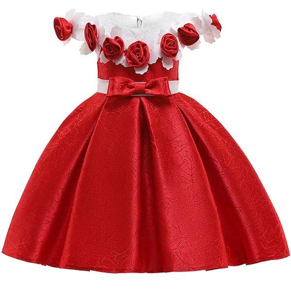 پیراهن مجلسی دخترانه قرمز و سفید