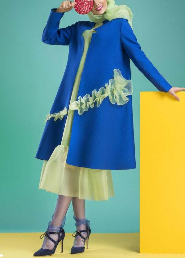مدل مانتو مجلسی آبی رنگ سال