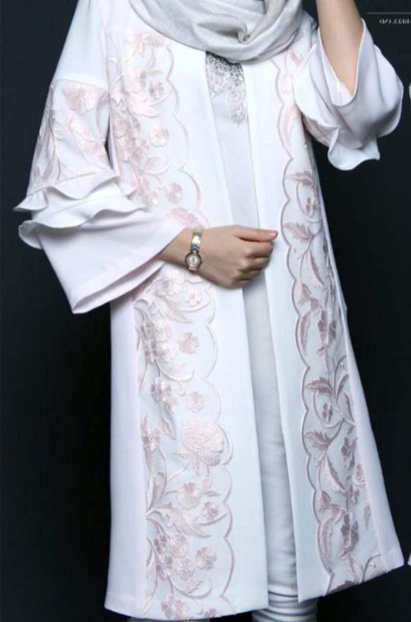 مانتو عید مجلسی دخترانه سفید صورتی