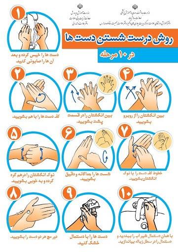 روش صحیح شستن دستها