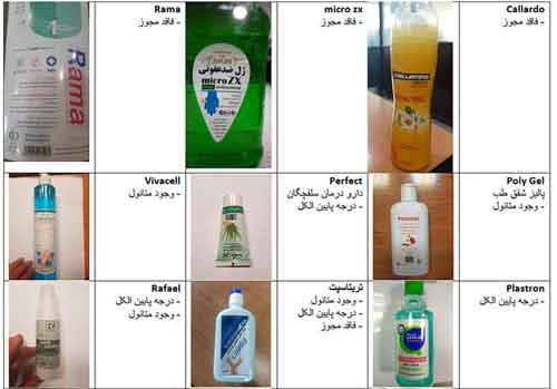 لیست مواد ضدعفونی تقلبی در بازار
