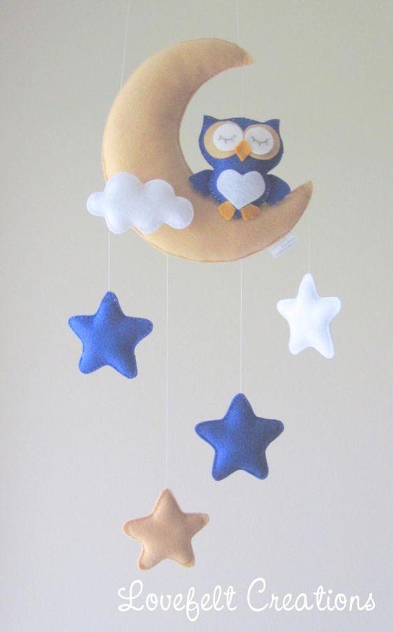 آویز نمدی ابر و ماه و ستاره
