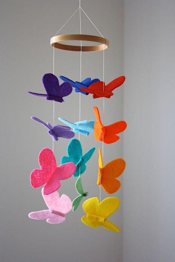 آویز نمدی پروانه های رنگی