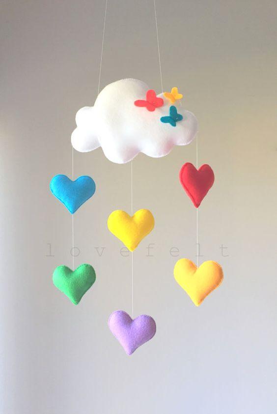 آویز نمدی ابر و قلب رنگی