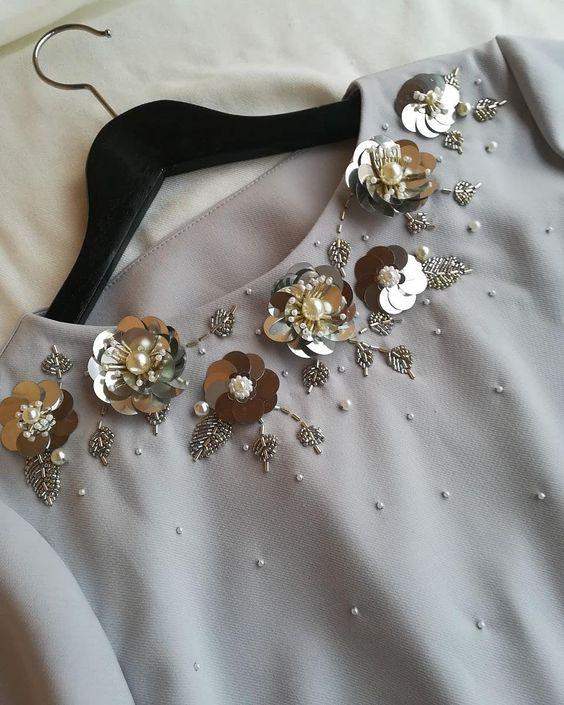پولک دوزی یقه لباس