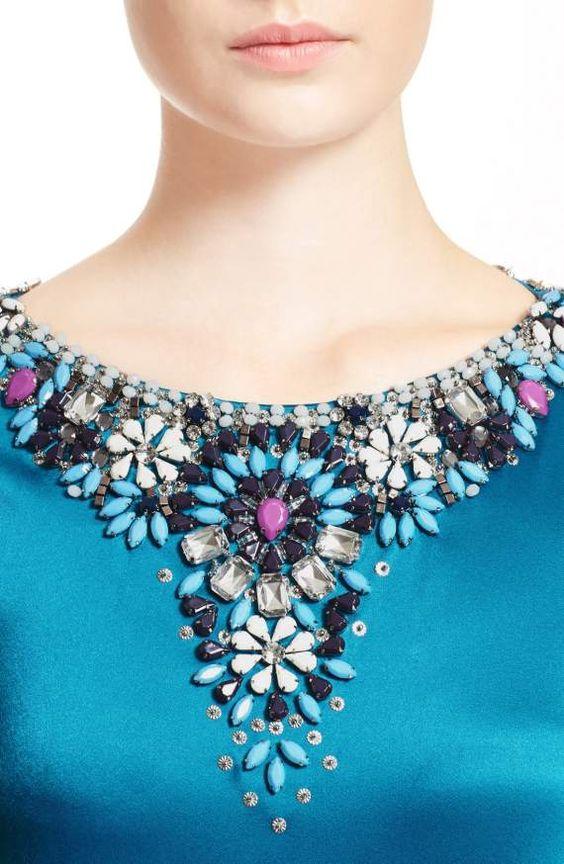 مدل سنگ دوزی یقه لباس