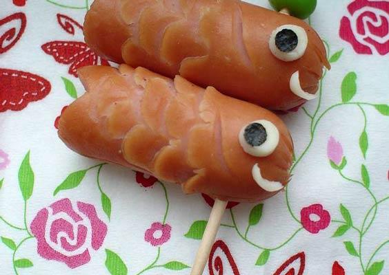 تزیین سوسیس شکل ماهی