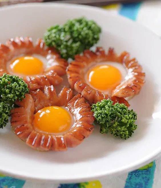 تزیین سوسیس تخم مرغ