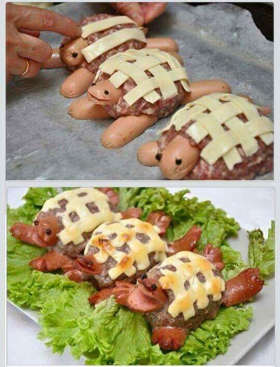 هات داگ و گوشت شکل لاکپشت