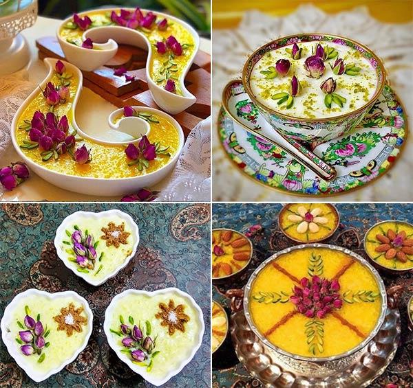 تزیین فرنی شله زرد گل محمدی