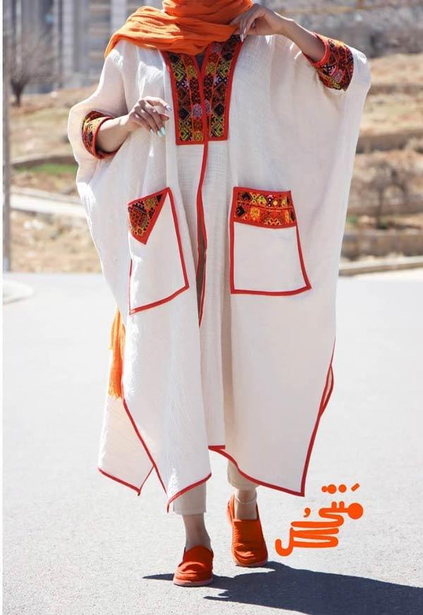 مانتو کیمونو سفید تابستانی
