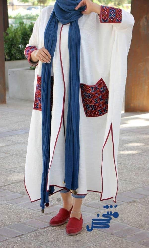 مانتو کیمونو عبایی سفید
