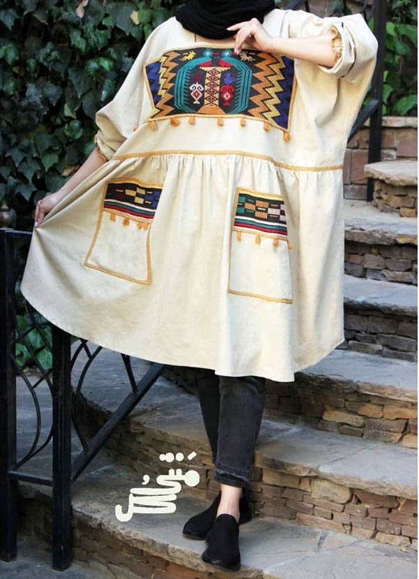 مانتو گشاد سنتی دخترانه رنگ روشن