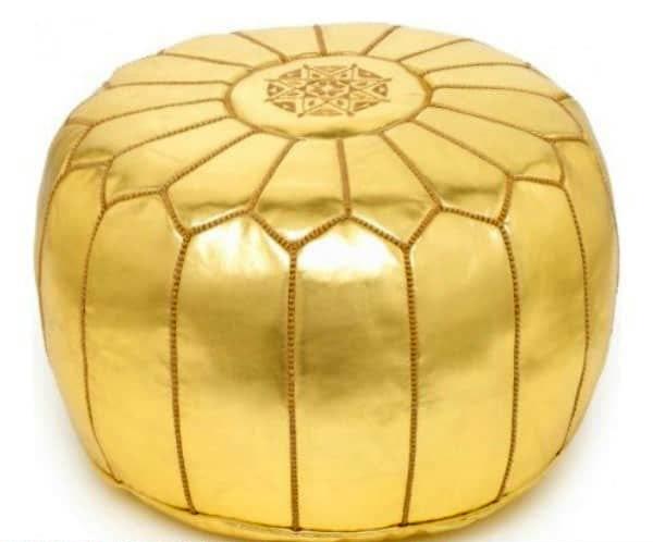 پاف گرد چرم طلایی