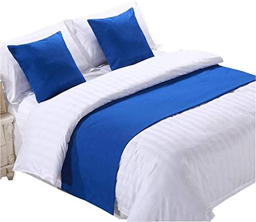 کوسن شال تختخواب پارچه ساده آبی