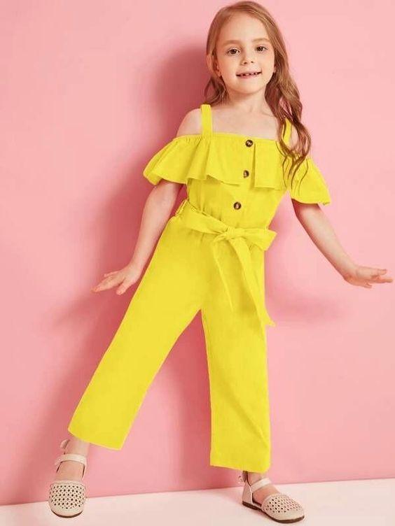 مدل بیلرسوت بچه گانه دخترانه تابستانی زرد