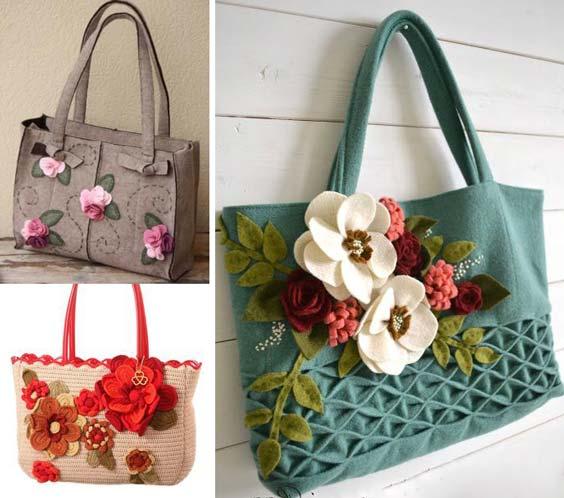 تزیین کیف با گل های نمدی